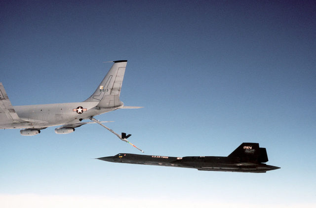 An SR-71 refueling from a KC-135Q Stratotanker during a flight in 1983 Source