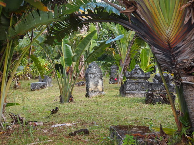 The crumbling cemetery, its graves half covered by tall, swaying grass, is open to the public. Source
