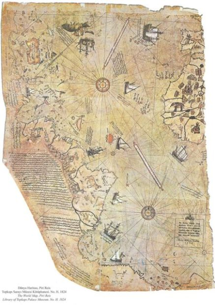 Surviving fragment of the Piri Reis map showing Central and South America shores. Source