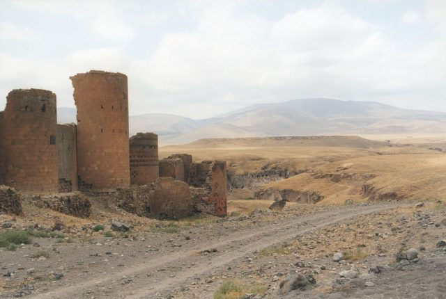 The walls of Ani showing a defensive tower. Source