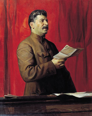 Stalin depicted in the style of Socialist Realism. Painting by Isaak Brodsky