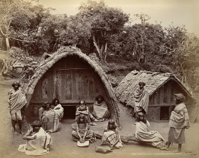 Toda mund (hamlet) and barrel-vaulted houses in the Nilgiri Hills in Tamil Nadu, 1869.