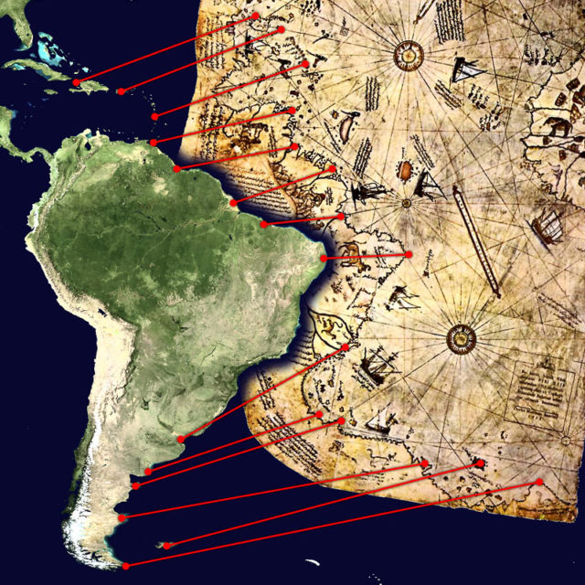 Hypothesis that attempts to correlate the lower boundary of the Piri Reis map of the coast of Argentine Patagonia and the Falkland Islands.