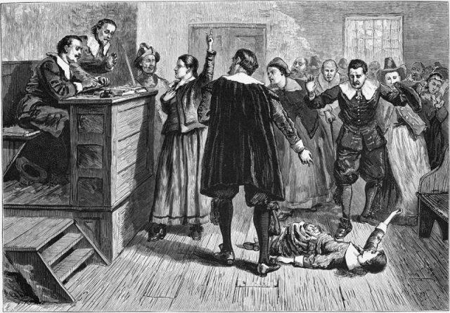 Witchcraft at Salem Village, engraving.
