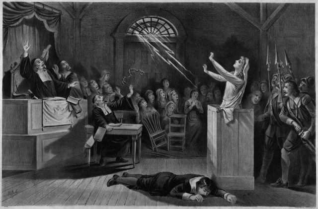 Fanciful representation of the Salem witch trials, lithograph from 1892.