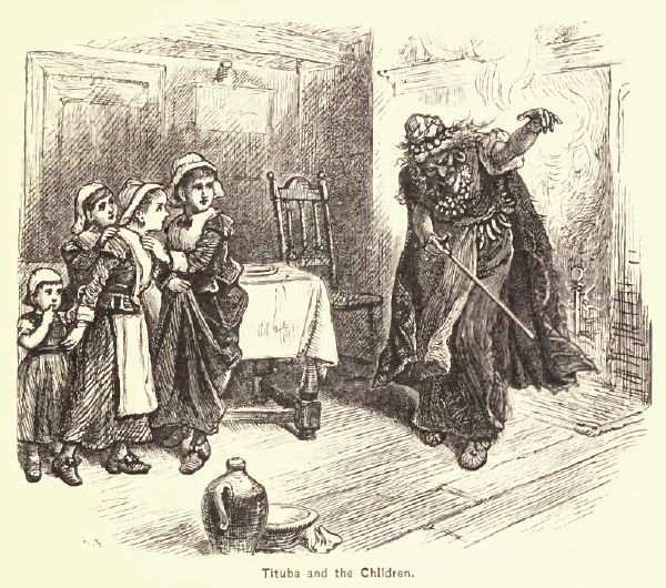 """This 19th century representation of """"Tituba and the Children"""" by Alfred Fredericks, originally appeared in A Popular History of the United States, Vol. 2, by William Cullen Bryant (1878)"""
