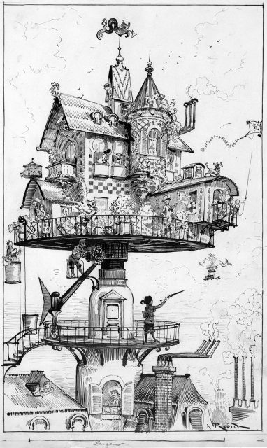 'Maison tournante aérienne' (aerial rotating house) by Albert Robida for his book Le Vingtième Siècle, a 19th century conception of life in the 20th century.