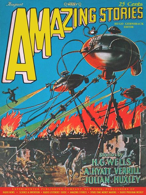 The August 1927 issue of Amazing Stories featuring work by H. G. Wells.