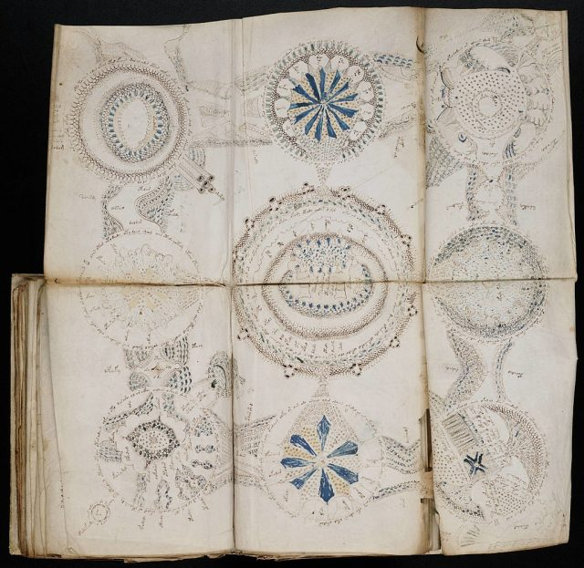 Some pages of the manuscript fold out to show larger diagrams.