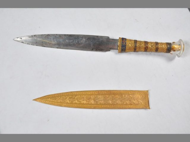 Most iron objects from this era are heavily corroded, but the dry conditions in Tutankhamun's tomb kept the dagger rust-free. Credit: Egyptian Museum of Cairo