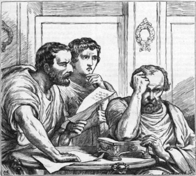 Lepidus (right) browbeaten by Antony and Octavian