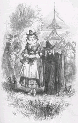 Two of the Pendle witches, tried at Lancaster in 1612, in an illustration from William Harrison Ainsworth's 1849 novel The Lancashire Witches