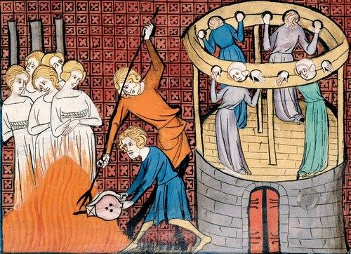 Medieval miniature depicting the torture and execution of witches.