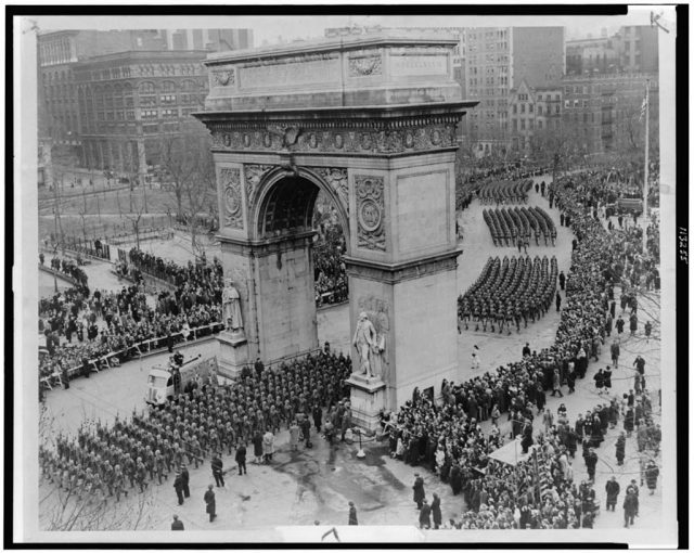 The parade, beginning at Washington Square, marching up Fifth Avenue, was reported to be four miles long.[3][5] It was a ticker tape parade, and was covered by newsreels of the time.