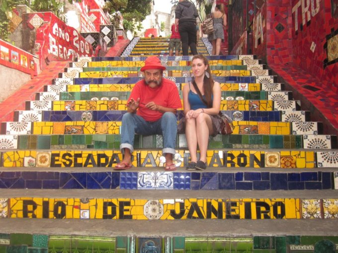 Jorge and me sitting together on his beautiful staircase