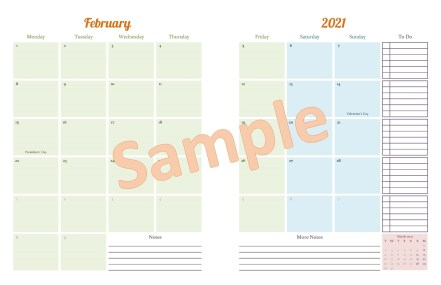 Sample 2 Page Month Spread