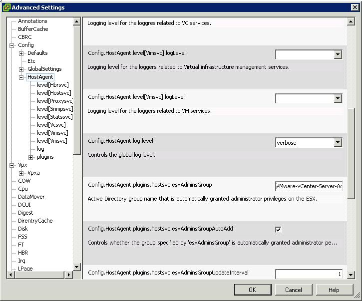 ESXi host - Advanced settings