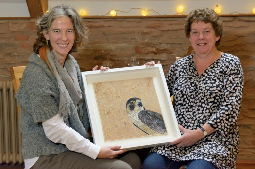 Angela Knapp and Sue Milverton with one of Angela's textile pieces - Copy