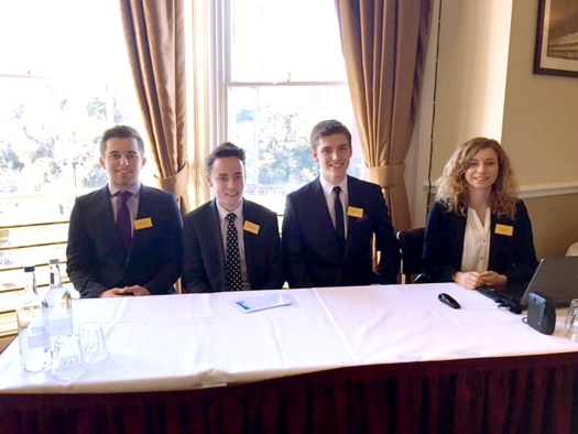 Photo caption: The Strode College winning team from L-R: Haiden Watts, Hamish Ryall, Jack Squire, Jess Pate at the regional heat that was held at the Avon Gorge Hotel in Clifton, Bristol.