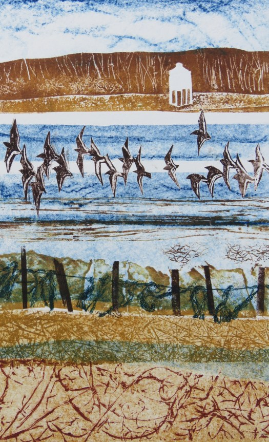 """JACKIE CURTIS """"View from Steart across Bridgwater Bay to Burnham on Sea"""",Collagraph"""