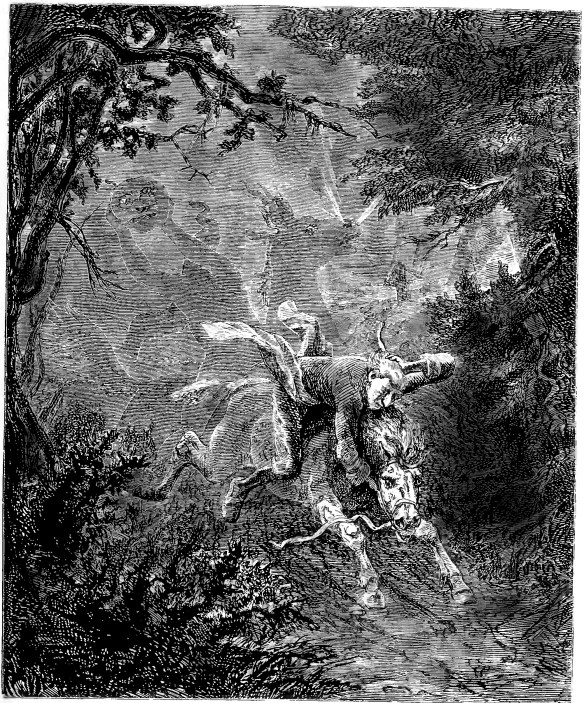 The Legend of Sleepy Hollow Washington Irving Ichabod Crane Headless Horseman illustration by Emanuel Leutze 1864