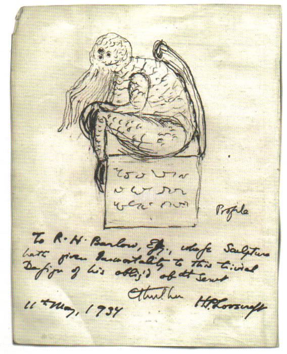 1934 May 11 sketch of statue icon of Old One Great God Cthulhu by HP Lovecraft author creator in short story The Call of Cthulhu