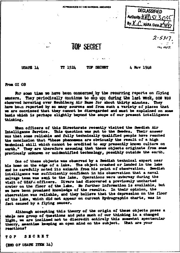 Top Secret USAFE item 14 1948 November 4 Declassified United States Air Forces in Europe UFO Sweden flying saucer