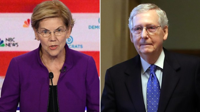 During the first Democratic debate of the 2020 presidential election, Sen. Elizabeth Warren (D-MA) says she has a plan to deal with Senate Majority Leader Mitch McConnell (R-KY).
