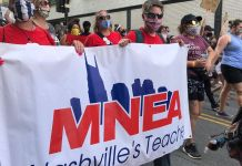 Members of MNEA in June protest downtown Nashvile. (Photo courtesy: facebook.com/MNEA.nashville)