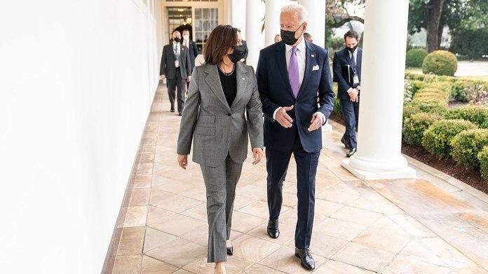 (l-r) Vice President Kamala Harris and President Joe Biden walking to the Oval Office. (Photo by: Adam Schultz | twitter.com/vp | Wiki Commons)