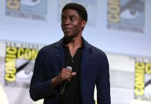 "Chadwick Boseman speaking at the 2016 San Diego Comic Con International, for ""Black Panther"", at the San Diego Convention Center in San Diego, California. (Photo by: Gage Skidmore 