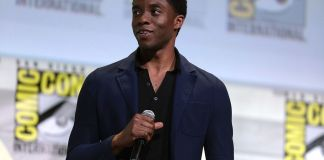 """Chadwick Boseman speaking at the 2016 San Diego Comic Con International, for """"Black Panther"""", at the San Diego Convention Center in San Diego, California. (Photo by: Gage Skidmore 