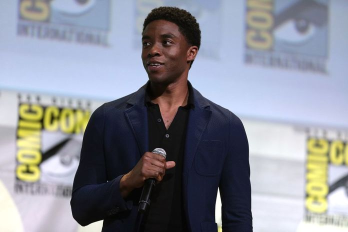 Chadwick Boseman speaking at the 2016 San Diego Comic Con International, for