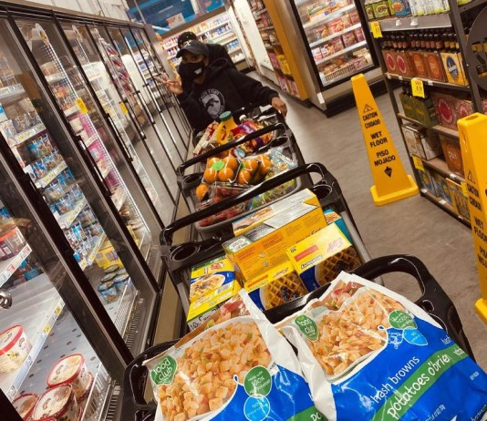 Jeneisha Harris stocking up during one of her many visits to the grocery store. (Courtesy Photo)