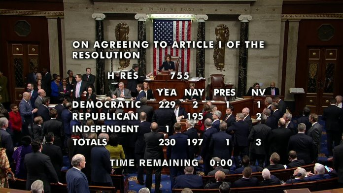 The House voted 230-197 on December 18, 2019, to charge President Donald Trump with abuse of power.