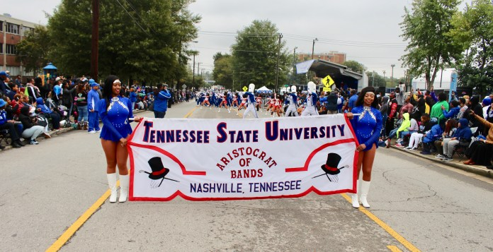 The world-renowned TSU Aristocrat of Bands participates in the Homecoming parade. (Photo by: Emmanuel Freeman, TSU Media Relations)