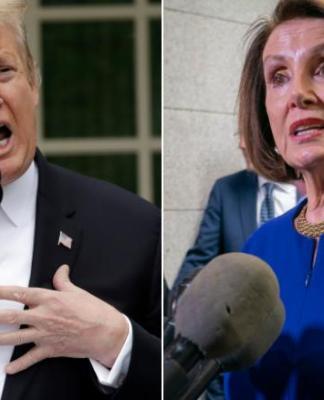 (l-r) President Donald Trump, Speaker of the House Nancy Pelosi