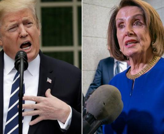 (l-r) President Donald Trump, Speaker of the House Nancy Pelosi