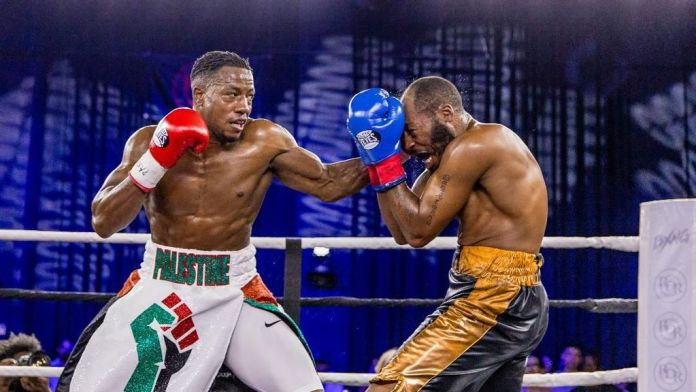 Unbeaten Muhsin Cason, left, in his most recent bout, a third-round knockout of Tristan James. (bxng.tv)