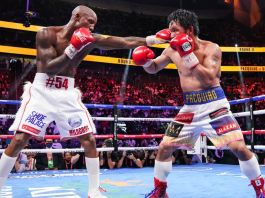 WBA welterweight champion Yordenis Ugas (left) said 'The double-jab was the lead punch' dictating Saturday's dominant unanimous decision over eight-division titlist Manny Pacquiao. (Sean Michael Ham/TGB Promotions)br