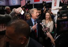 Tom Steyer in the spin room following the Democratic debate in Des Moines, Iowa, on January 14.