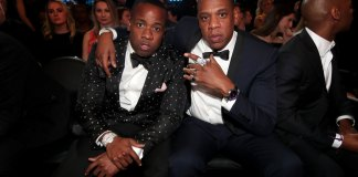 Hip Hop Artists Yo Gotti and Jay-Z during The 59th GRAMMY Awards at STAPLES Center on February 12, 2017 in Los Angeles, California.