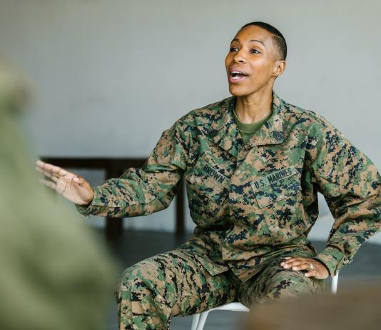 Black woman Marine. (Photo by: RODNAE Productions from Pexels)