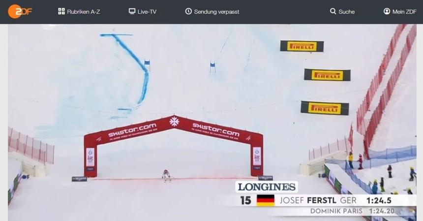 I am watching winter sports live on ZDF abroad