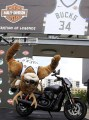 On Thursday, Aug. 10 the Milwaukee Bucks mascot, Bango, preforms a backflip wearing the team's new jersey featuring the iconic Harley-Davidson bar and shield logo. The multi-year global agreement unites two of the world's favorite sports and reaches new, young adult audiences across the U.S. and around the world in over 200 countries and territories.(Darren Hauck/AP Images for Harley-Davidson)