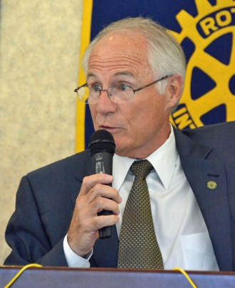 Wright State University President Dr. David Hopkins talks to Van Wert Rotary Club members and members of the community on Tuesday at Willow Bend Country Club. (Dave Mosier/Van Wert independent)