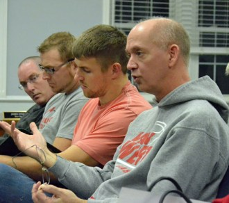 Van Wert City Board of Education President Ken Markward speaks during a discussion Monday night concerning acceptance of the former Washington School site into the city. (Dave Mosier/Van Wert independent)