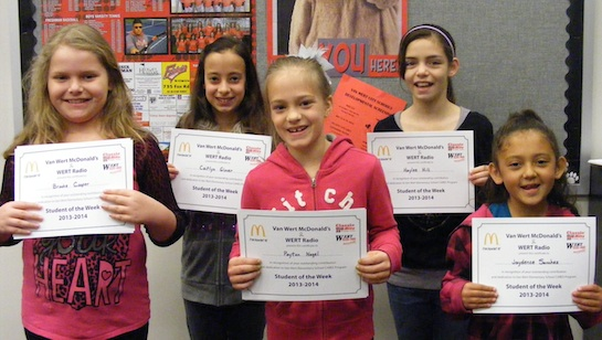 """Congratulations to the Van Wert Elementary Students of the Week! These girls represent the Word of the Week, """"Humility"""". Caitlyn, Grade 5; Haylee, Grade 4; Brooke, Grade 3; Payton, Grade 2; and Jaydence, Grade 1. These students received a free Mighty Kids Meal for our local McDonalds. (Photo submitted.)"""