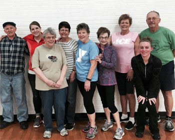 YMCA SilverSneakers friends gather together before Line Dancing class, held Fridays 10:45-11:15 a.m. at the YMCA of Van Wert County. (photo submitted)