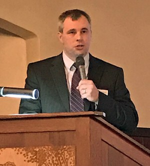 Brian Ricker shares AgCredit's financial report. (photo submitted)